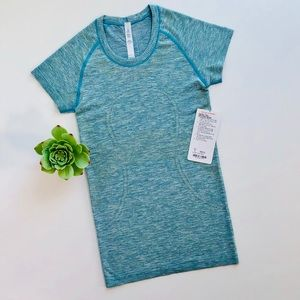 NWT teal blue Swiftly Tech SS crew tee size 4